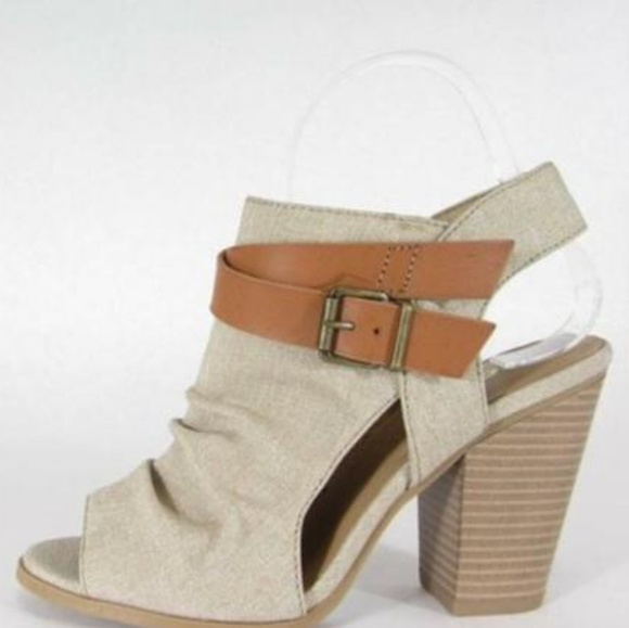 Strappy Buckle Peep Toe Booties Stacked